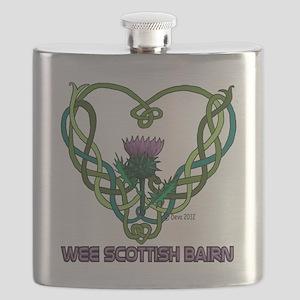 Heart Scot Bairn white Flask