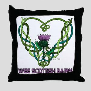 Heart Scot Bairn white Throw Pillow