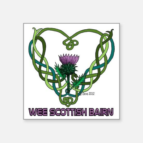 """Heart Scot Bairn white Square Sticker 3"""" x 3"""""""