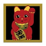 Red Maneki Neko Tile Coaster