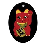 Red Maneki Neko Oval Ornament