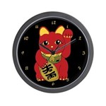 Red Maneki Neko Wall Clock
