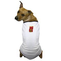 Red Maneki Neko Dog T-Shirt