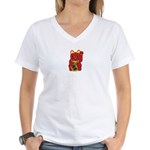 Red Maneki Neko Women's V-Neck T-Shirt