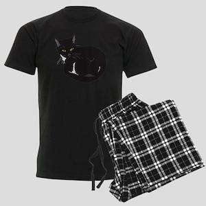 Tuxedo Cat Resting T-shirt Men's Dark Pajamas