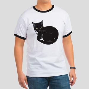Tuxedo Cat Resting T-shirt Ringer T