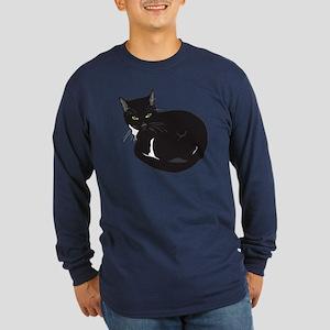 Tuxedo Cat Resting T-shir Long Sleeve Dark T-Shirt