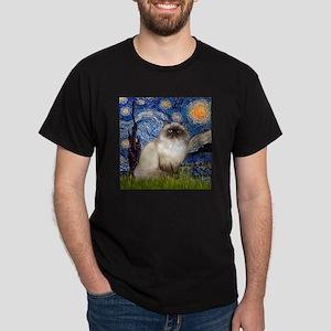 Starry Night Himalayan cat Dark T-Shirt