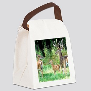 Buck With Doe  Fawn Puzzle Canvas Lunch Bag