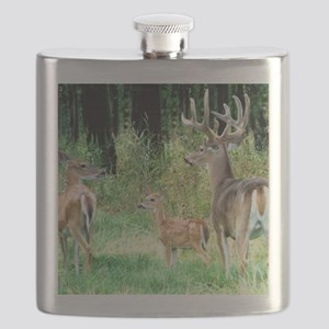 Buck With Doe  Fawn Puzzle Flask