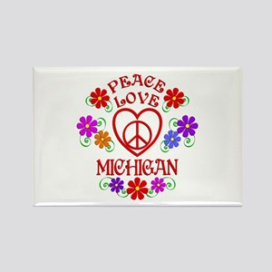 Peace Love Michigan Rectangle Magnet