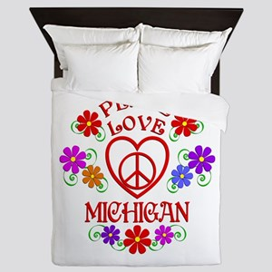 Peace Love Michigan Queen Duvet