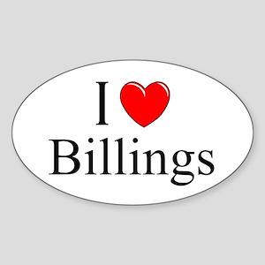 """""""I Love Billings"""" Oval Sticker"""