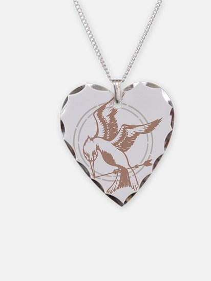 Mockingjay Art Necklace Heart Charm