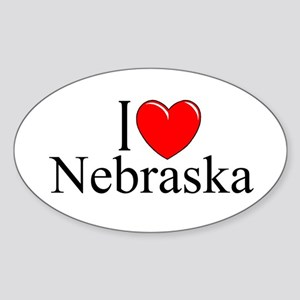 """I Love Nebraska"" Oval Sticker"