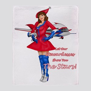 LET-OUR-STEWARDESSES-SHOW-YOU Throw Blanket