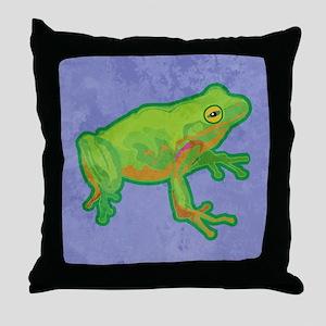 duvetQueenGrnTreeFrog Throw Pillow