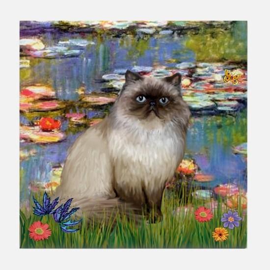 Lilies & Himalayan cat Tile Coaster