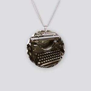 Typewriter Necklace Circle Charm