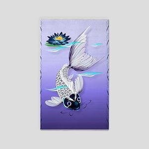 Large PosterrWhite Koi-Blue Lily 3'x5' Area Rug