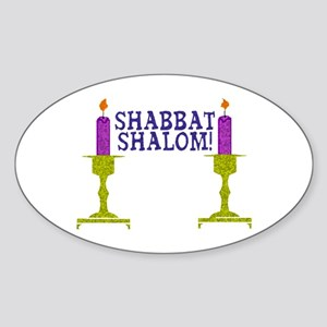 Shabbat Shalom! Oval Sticker