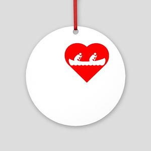 I-Heart-canoeing-Darks Round Ornament
