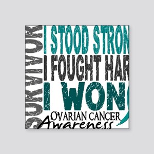 "D Survivor 4 Ovarian Cancer Square Sticker 3"" x 3"""