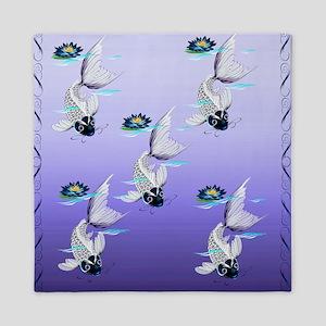 Shower Curtain White Koi-Blue Lily Queen Duvet