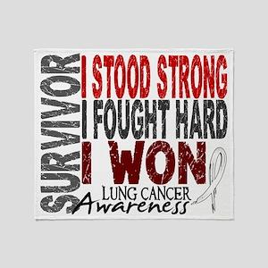 D Survivor 4 Lung Cancer Throw Blanket