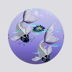 TWIN DUVET COVER White Koi-Blue Lil Round Ornament