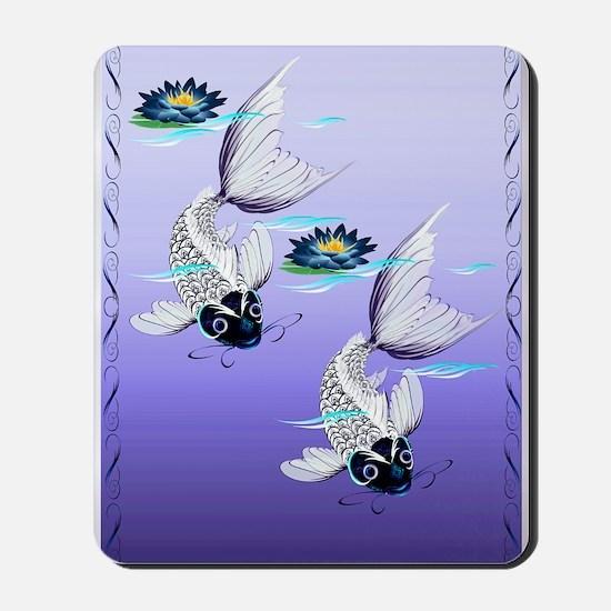 TWIN DUVET COVER White Koi-Blue Lily Mousepad