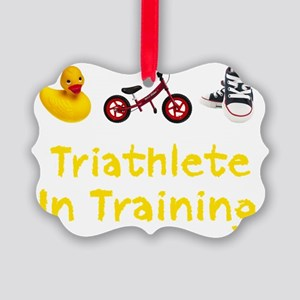 Triathlete_In_Ttraining_wht Picture Ornament