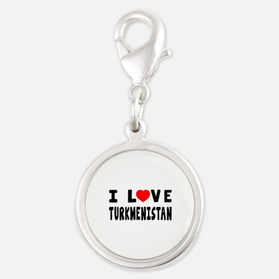 I Love Turkmenistan Silver Round Charm