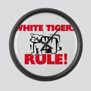 White Tigers Rule! Large Wall Clock