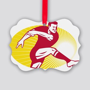 Rugby Player Kicking Ball Retro Picture Ornament