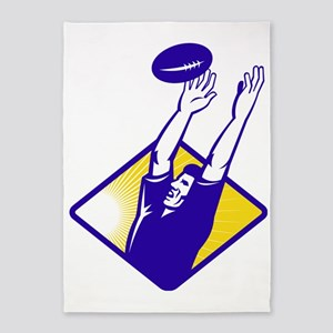 Rugby Player Catching Lineout Ball 5'x7'Area Rug