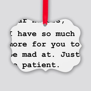 Dear Haters Black Picture Ornament