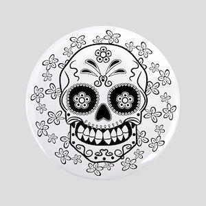 """Sugar Skull.B  W 3.5"""" Button"""