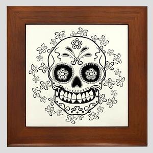 Sugar Skull.B  W Framed Tile