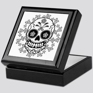 Sugar Skull.B  W Keepsake Box