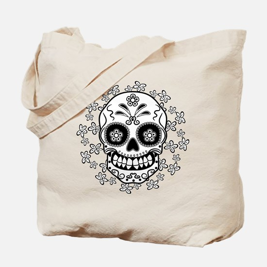 Sugar Skull.B  W Tote Bag