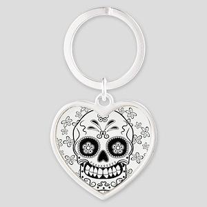 Sugar Skull.B  W Heart Keychain