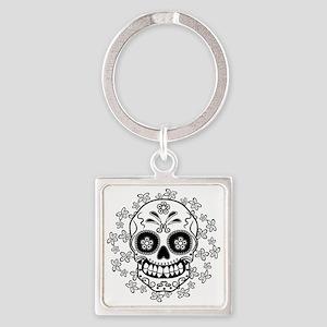 Sugar Skull.B  W Square Keychain