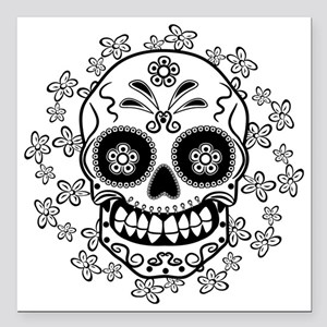 "Sugar Skull.B  W Square Car Magnet 3"" x 3"""