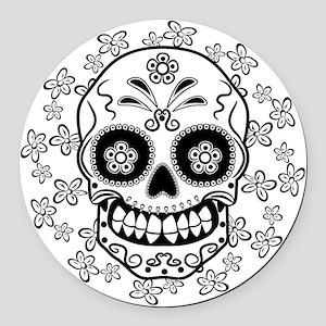 Sugar Skull.B  W Round Car Magnet