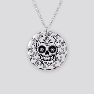Sugar Skull.B  W Necklace Circle Charm