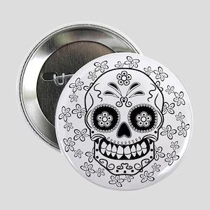 """Sugar Skull.B  W 2.25"""" Button"""