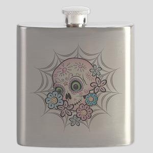 Sweet Sugar Skull  Flowers Flask