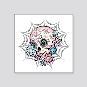 "Sweet Sugar Skull  Flowers Square Sticker 3"" x 3"""
