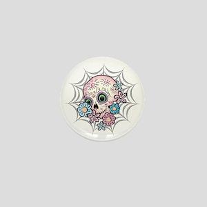 Sweet Sugar Skull  Flowers Mini Button